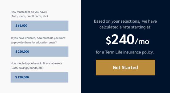 life insurance calculator estimate preview